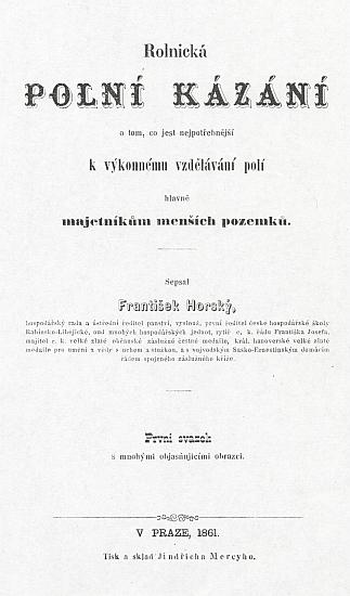 Titulní list prvního svazku jeho polních kázání