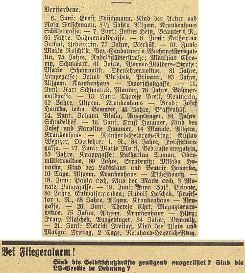 Jeho jméno se málem ztrácí v seznamu zemřelých z června válečného roku 1944, kdy už nad Budějovicemi hrozilo akutní nebezpečí náletů