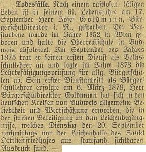 Nekrolog Josefa Goldmanna na stránkách českobudějovického německého listu