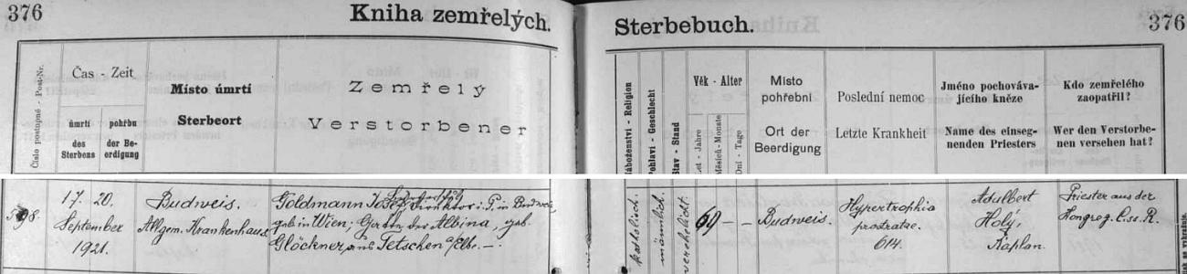 Záznam českobudějovické knihy zemřelých o úmrtí Josefa Goldmanna