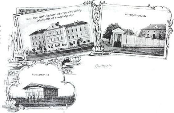 """Německá lesnická a zemědělská škola měla také svou pohlednici, zachycující hlavní a hospodářskou budovu se dvorem i tehdy nezbytnou """"pazdernu"""""""