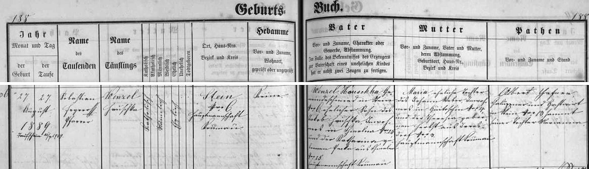 Podle záznamu v matrice farní obce Polná na Šumavě narodil se tu zdejšímu kováři Wenzelu Houschkovi staršímu (otcovi rodiče Jakob a Katharina pocházeli z Chmelné) a jeho ženě Marii, roz. Weberové z Květušína (její maminka Theresia, roz. Herbstová, byla rodem ze zcela dnes zaniklého Lštína /Irresdorf/)