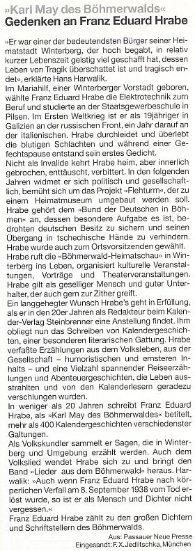 """Přetištěný článek z Passauer Neue Presse nese titul """"Šumavský Karl May"""""""