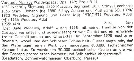 Popis jednoho z domů na někdejším vimperském Waldekově náměstí zachycuje s odvoláním na informaci Josefa Bradatsche pro Šumavské muzeum  v Pasově osud Adolfa Wedelese, syna představitele zdejší židovské obce Simona Wedelese (viz i Josef Rammel)