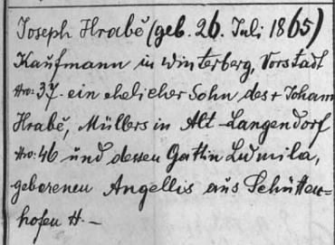 """Součástí záznamu o narození otcova staršího bratra je ve vimperské matrice roku 1895 také kolonka se jménem Güntherova děda Johanna Hraběte a jeho matky, psané zde """"Lidmila, rozená Angellis"""" ze Sušice - to na vysvětlenou Güntherova rozšířeného příjmení"""