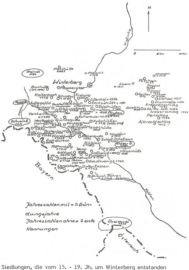 Na dvou kresbách z jeho knihy o Vimperku je zachyceno osídlení okolí do roku 1400 a na druhé z mapek pak jen sídla, vzniklá od 15. do 19. století - u všech míst je uveden i letopočet vzniku (první zmínky)