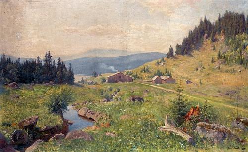 Obraz Emericha Fechtera (1854-1912) Uhlíkovské údolí s Plešným jezerem (1902) je součástí sbírek Národní galerie v Praze