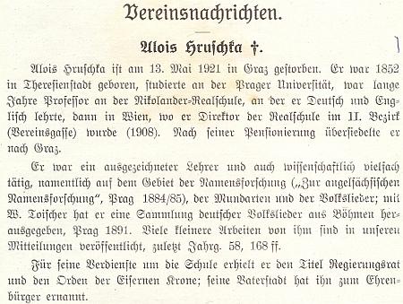 Nekrolog ve spolkových zprávách Sdružení pro dějiny Němců v Čechách