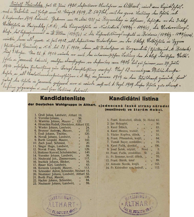 Dvě kandidátní listiny k volbám starosty ve Starém Hobzí v roce 1923 i s jeho jménem