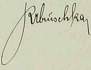 Vazba kroniky německé školy ve Starém Hobzí, kde působil, a jeho podpis v ní