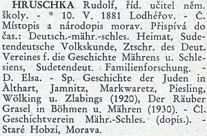 """Heslo v biografickém slovníku """"žijících kulturních pracovníků a pracovnic ČSR"""""""