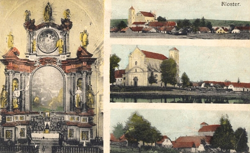 Klášter u Nové Bystřice na pohlednici z roku 1912...