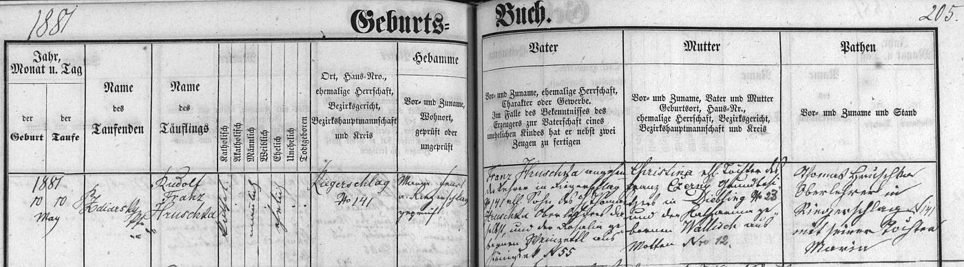 Záznam o jeho narození v křestní matrice farní obce Lodhéřov