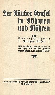 """Titulní list jeho knihy o lupiči """"Grázlovi"""" (Moldavia České Budějovice, 1933)"""