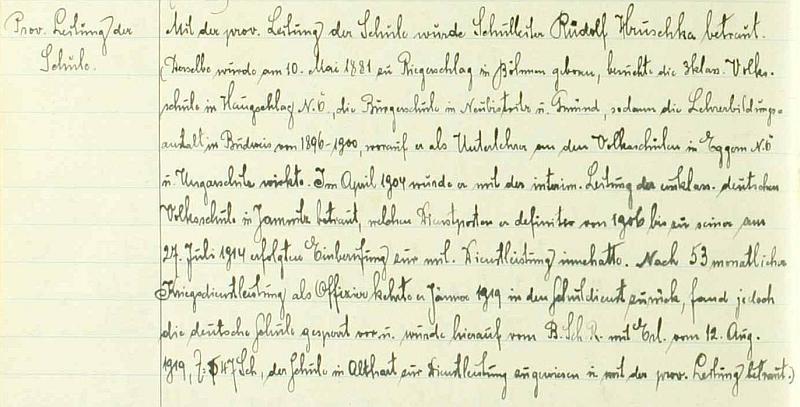 Zápis o jeho nástupu do školy ve Starém Hobzí ve školní kronice