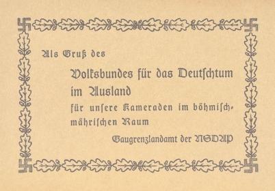 """Pozdrav župního hraničářského úřadu NSDAP """"kamarádům v českomoravském prostoru"""""""