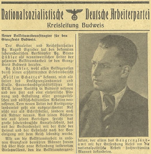 """Na podzim 1941 byl jmenován """"župním vedoucím"""" Eigruberem pověřencem pro upevňování němectví v """"hraničním okrese Budweis"""""""