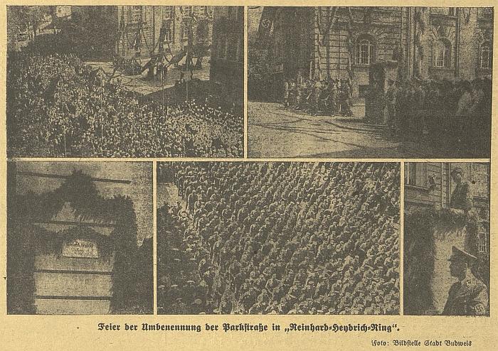 """I tohle byly České Budějovice za války: slavnost přejmenování ulice Na Sadech (Parkstraße) na """"Reinhard-Heydrich-Ring""""     (lidový génius prý zvolil jako českou alternativu """"náměstí českého vraha"""")"""