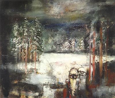 Černé jezero na obraze Josefa Jíry (1929-2005)...