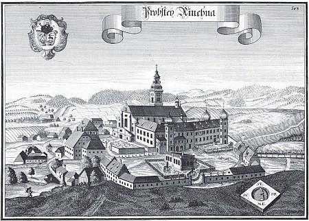 Klášter Rinchnach na mědirytině Michaela Weninga z 18. století