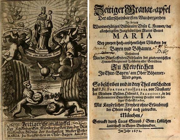 Frontispis a titulní list jeho knihy z roku 1671
