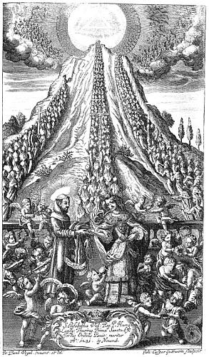 Jedna z ilustrací k jeho životům blahoslavených a svatých františkánského řádu z mnichovského tisku s vročením 1698