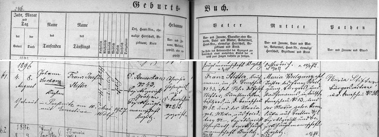 Údoli Stiftertal (viz i Ignaz Pils) se v Benešově nad Černou takto neříkalo až po odhalení Stifterova památníku: Josef Stifter, jehož vnuk Franz Josef se v Benešově narodil v srpnu 1896, byl tu majitelem mlýna na Černé, jak vyplývá zezápisu o vnukově křtu v benešovské matrice