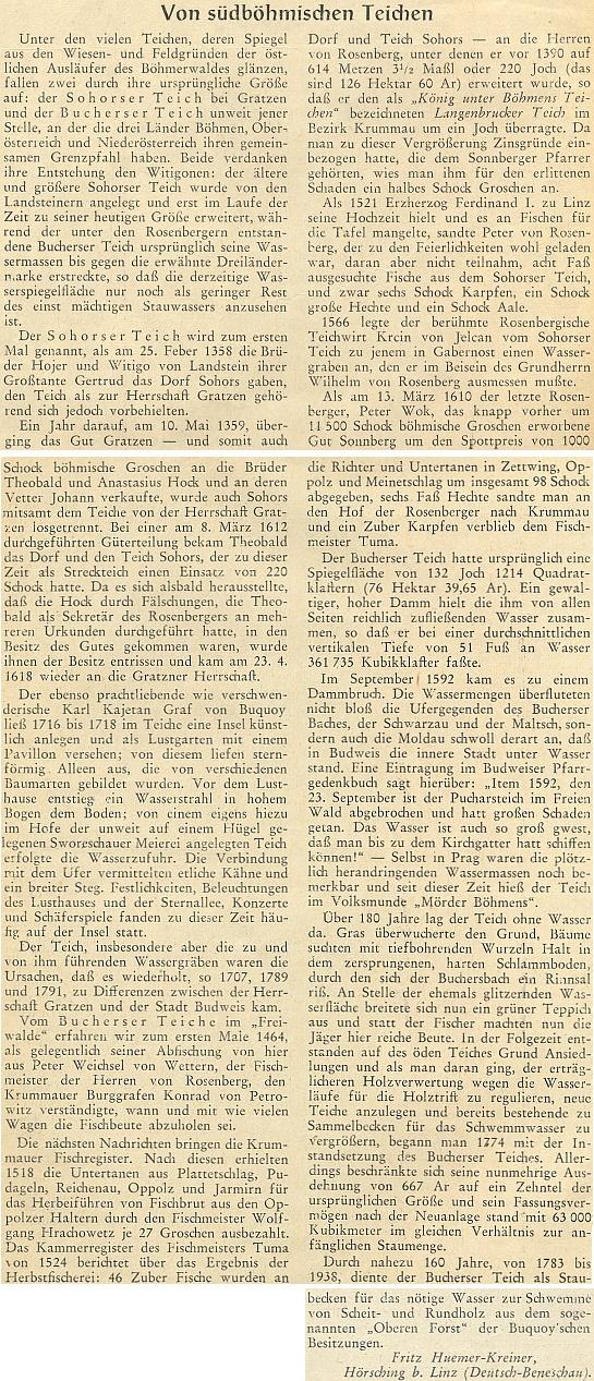 """Jeho článek """"O jihočeských rybnících"""" popisuje i prolomení hráze Pohořského rybníku v září roku 1592, mající za následek i náhlou velkou vodu v Praze (v roce 2002 se ve větší míře cosi podobného opakovalo) a z toho vzešlou přezdívku """"mordýř Čech"""" pro rybnik sám"""