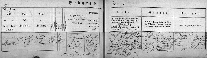 Záznam o narození matčině 23. listopadu 1882 v Německém Benešově čp. 126 (dnešní obecní úřad) v rodině úředního sluhy (Amtsdiener) Augusta Nothnagla a jeho ženy Kathariny, roz. Brunnerové
