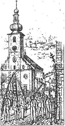 Nosiči velikonočních ratolestí o Květné neděli před děkanským kostelem sv. Jakuba staršího v Benešově nad Černou - kresba Alfons Migl