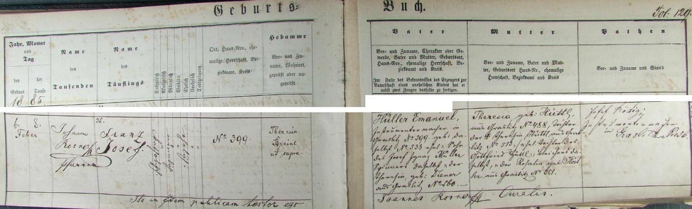 Narodil se podle tohoto záznamu v kraslické křestní matrice dne 6. února roku 1885 a byl dva dny nato farářem Johannem Rosnerem ve zdejším kostele Božího Těla i pokřtěn na jméno Franz Josef Hüller - otcem dítěte byl Emanuel Hüller, výrobce hudebních nástrojů v chlapcově rodném domě v Kraslicích čp. 399, syn zdejšího přádelníka Josefa Ignaze Hüllera a jeho ženy Theresie, roz. Dienerové z Kraslic čp. 560, matkou novorozencovou byla pak Theresia, roz. Hüttlová, nemanželská dcera Theresie Hüttlové, manželské dcery Gottfrieda Hüttla, běliče vKraslicích čp. 513, a Rosalie, roz. Köstlerové z Kraslic čp. 361