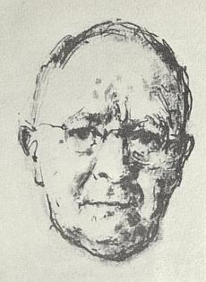 Na kresbě perem, jejímž autorem je Rudolf Wernicke (1898-1963)