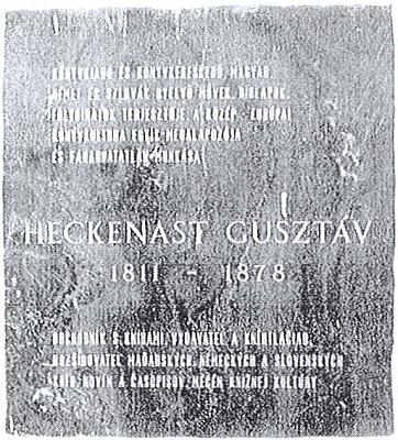 Dům Stifterova nakladatele Gustava Heckenasta v Bratislavě a maďarský i slovenský epitaf v kapli jeho hrobky na evangelickém hřbitově nedaleko domu (Kozia brána)
