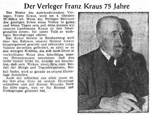 Medailon nakladatele Franze Krause na stránkách ústředního listu vyhnaných krajanů v září 1954 u příležitosti jeho 75. narozenin