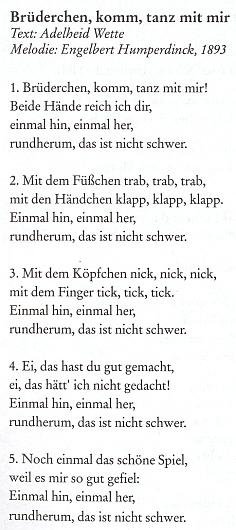 """Píseň z Humperdinckovy opery na její slova se objevila roku 2007 i ve zpěvníku rakouského Sudetoněmeckého krajanského sdružení vedle Kernstockovy rakouské hymny, Hartauerovy hymny šumavské, Wallnerovy písně o Vltavě či z těch dětských i německé obdoby notoricky známého popěvku """"Zajíček v své jamce sedí sám""""..."""