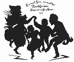 Humperdinck tančí s postavami své opery na melodii árie z ní: Krůček sem, krůček tam, já už tančit znám