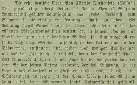 Text v časopise Mein Böhmerwald, týkající se inspirace opery Perníková chaloupka