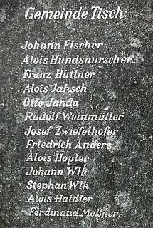 Jméno Hundsnurscher najdeme i na ktišském památníku padlých v první světové válce
