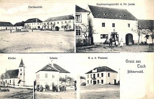 Pohlednice z roku 1908 s nejstarší podobou ktišské pošty