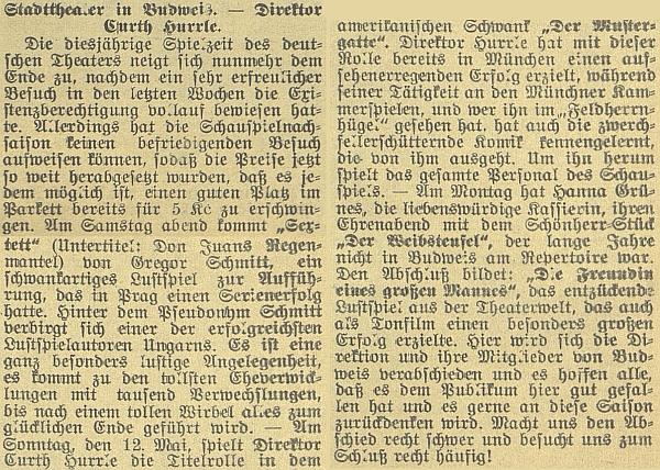 Takto o něm o několik týdnů později referoval českobudějovický německý list