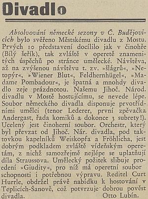 """Takto českobudějovický """"Hlas lidu"""" psal o jisté symbióze     německé a české divadelní scény pod Hurrleho vedením"""