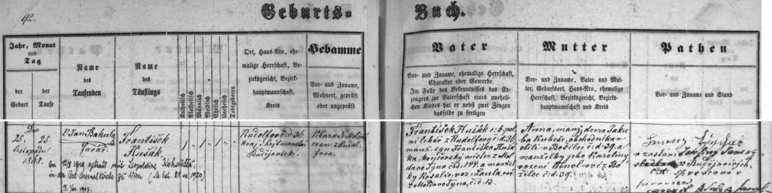 Česky psaný záznam rudolfovské matriky o jeho zdejším narození a křtu s pozdějším přípisem o vídeňské svatbě roku 1919