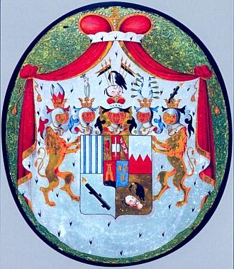 Za porážku Napoleona v bitvě u Lipska byl roku 1814 erb orlické větve Schwarzenbergů polepšen - nad srdeční štítek byl vložen malý rakousko-lotrinský znak a na jeho střed byl položen meč obrácený ostřím vzhůru (okenní vitráž v pracovně zámku Orlík)