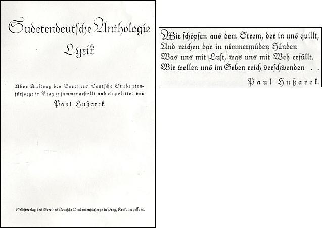 Titulní list a motto antologie, kterou sestavil