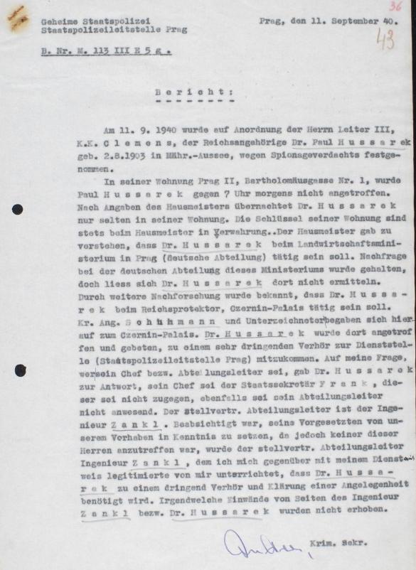 Jeho zatčení v dokumentu pražského gestapa ze září roku 1940