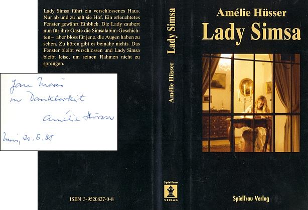 Obálka (1995) její knihy Lady Simsa (Spielfrau-Verlag, Muri bei Bern) s autorčiným věnováním