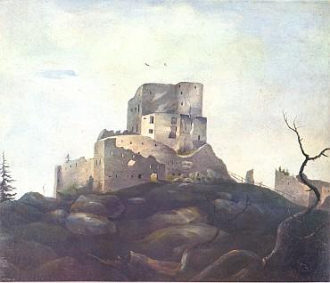 """""""Modrý hranol"""" hradu Vítkův Kámen na Stifterově obraze z doby kolem 1833-1835..."""