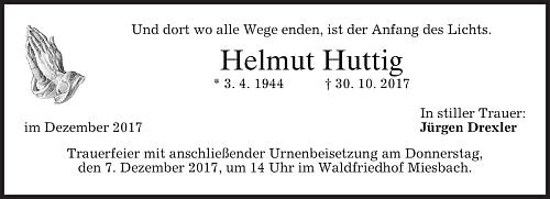 Úmrtní oznámení syna Helmuta