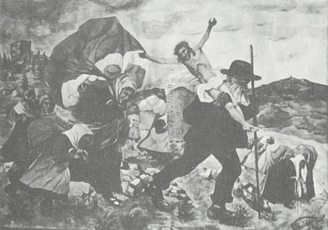 Vítkův Kámen na obraze šumavského malíře Williho Schneidera s názvem Vyhnání ze Šumavy 1945 - vpravo tvoří pozadí scény hora Kleť s rozhlednou na vrcholu