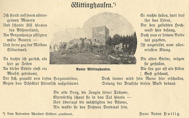Jeho báseň o Vítkově Kameni se původně objevila takto otištěna v českobudějovickém měsíčníku Waldheimat
